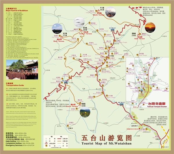 佛教圣地五台山寺庙游览全线路图